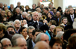 8-12-2014; Trumpter Johnny Carroll plays 'Nearer My God To Thee'  at the funeral of former South Kerry TD Jackie Healy-Rae in Kilgarvan, County Kerry on Monday.<br /> Picture by Don MacMonagle