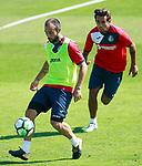 Getafe's Francisco Molinero (l) and Damian Suarez during training session. September 12,2017.(ALTERPHOTOS/Acero)
