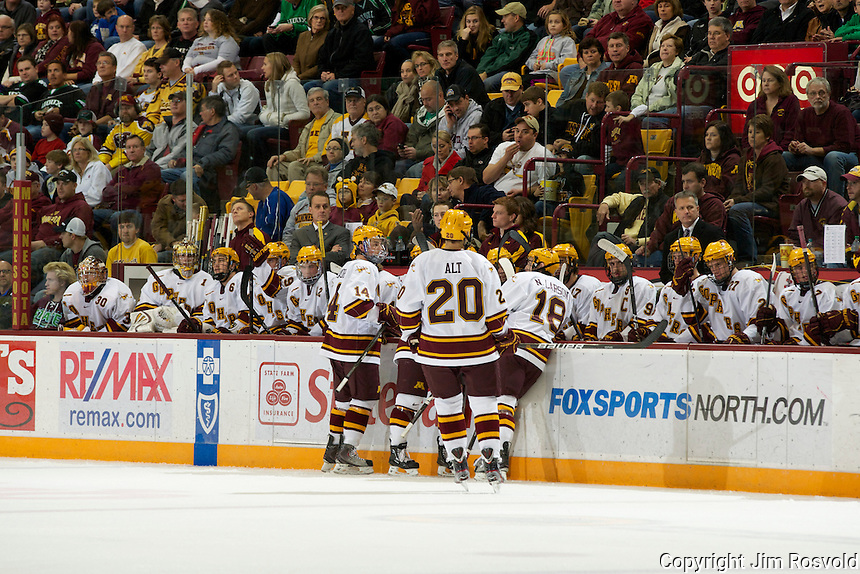 6 Nov 11: Minnesota Bench. The University of Minnesota Golden Gophers host the University of North Dakota Fighting Sioux in a WCHA matchup at Mariucci Arena in Minneapolis, MN.