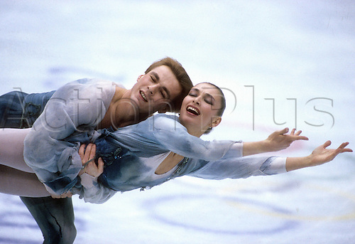 13 02 1992  Maya Ussova and Aleksander Schulin Olympic Games 1992 Winter Games ice dancing Albertville