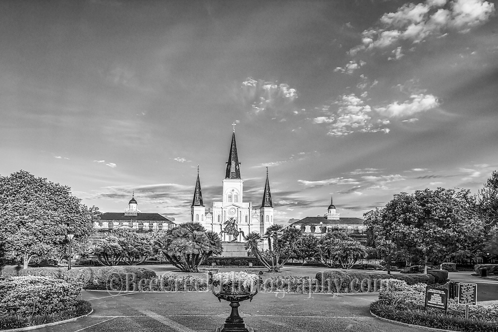 Jackson Square in black and white in Lousianna in the early morning before the crowds got here. You can see the Saint Louis Cathedral in the background of this cityscapes in downtown New Orleans