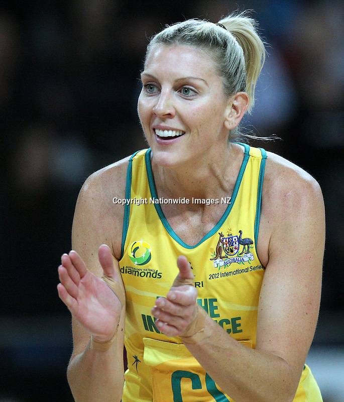 Australia's Catherine Cox cheers on her team against New Zealand in the New World netball series test match, Vector Arena, Auckland, New Zealand, Thursday, September 20, 2012. Credit:NINZ / Dianne Manson.