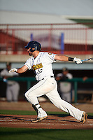 Burlington Bees third baseman Zachary Houchins (12) at bat during a game against the Clinton LumberKings on August 20, 2015 at Community Field in Burlington, Iowa.  Burlington defeated Clinton 3-2.  (Mike Janes/Four Seam Images)