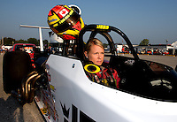 Aug. 30, 2013; Clermont, IN, USA: NHRA super comp driver Samantha Kenny during qualifying for the US Nationals at Lucas Oil Raceway. Mandatory Credit: Mark J. Rebilas-