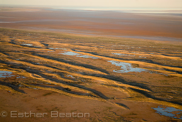 Dunes between South Lake Eyre (normally dry) and North Lake Eyre in distance after heavy spring rains. South Australia