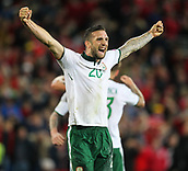 9th October 2017, Cardiff City Stadium, Cardiff, Wales; FIFA World Cup Qualification, Wales versus Republic of Ireland; Shane Duffy of Republic of Ireland celebrates at the final whistle