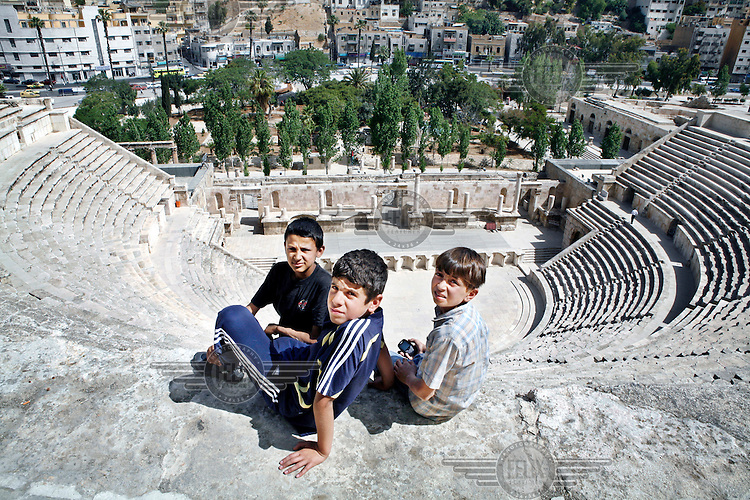 Boys in the Roman Amphitheatre in downtown Amman.