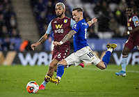 Leicester City's James Maddison (right) competing with Aston Villa's Douglas Luiz <br /> <br /> Photographer Andrew Kearns/CameraSport<br /> <br /> The Premier League - Leicester City v Aston Villa - Monday 9th March 2020 - King Power Stadium - Leicester<br /> <br /> World Copyright © 2020 CameraSport. All rights reserved. 43 Linden Ave. Countesthorpe. Leicester. England. LE8 5PG - Tel: +44 (0) 116 277 4147 - admin@camerasport.com - www.camerasport.com