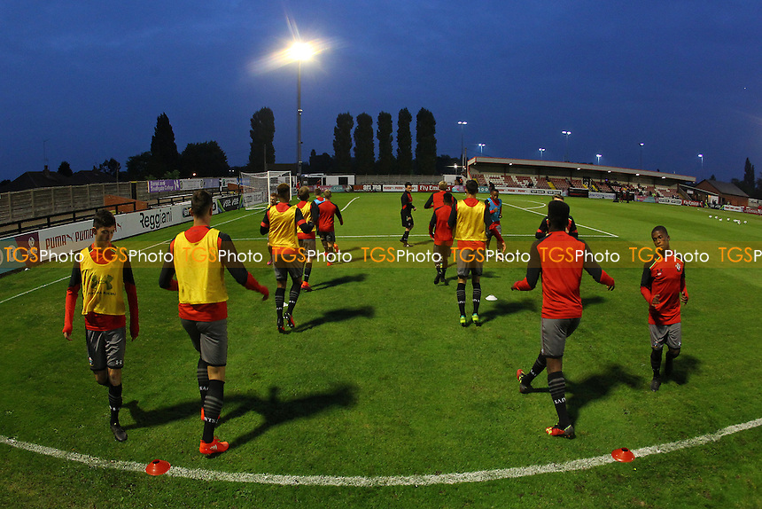 General view as the Southampton players warm up ahead of Arsenal Under-23 vs Southampton Under-23, Premier League 2 Football at Meadow Park on 14th October 2016