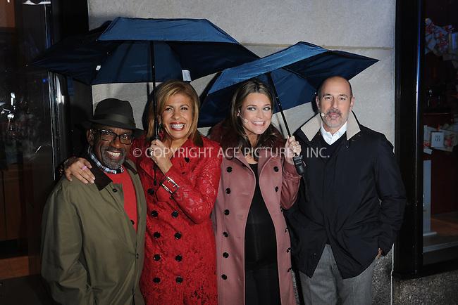 www.acepixs.com<br /> November 30, 2016  New York City<br /> <br /> Al Roker, Hoda Kotb, Savannah Guthrie and Matt Lauer attend the Rockefeller Center Christmas Tree lighting ceremony on November 30, 2016 in New York City.<br /> <br /> <br /> Credit: Kristin Callahan/ACE Pictures<br /> <br /> <br /> Tel: 646 769 0430<br /> Email: info@acepixs.com