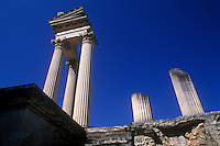 Ruins of 1st and 2nd century BC Roman town, Glanum.  Reconstructed temple.   St Remy de Provence, France.