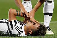 Calcio, Serie A: Fiorentina vs Juventus. Firenze, stadio Artemio Franchi, 24 aprile 2016.<br /> Juventus&rsquo; Paulo Dybala reacts after getting injured during the Italian Serie A football match between Fiorentina and Juventus at Florence's Artemio Franchi stadium, 24 April 2016. <br /> UPDATE IMAGES PRESS/Isabella Bonotto