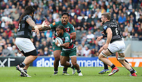 Leicester Tigers' Kyle Eastmond supported by with team-mate Manu Tuilagi <br /> <br /> Photographer Stephen White/CameraSport<br /> <br /> Gallagher Premiership Round 2 - Leicester Tigers v Newcastle Falcons - Saturday September 8th 2018 - Welford Road - Leicester<br /> <br /> World Copyright &copy; 2018 CameraSport. All rights reserved. 43 Linden Ave. Countesthorpe. Leicester. England. LE8 5PG - Tel: +44 (0) 116 277 4147 - admin@camerasport.com - www.camerasport.com