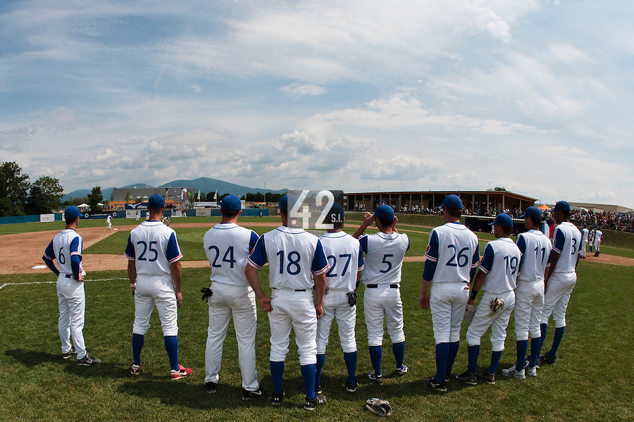 25 july 2010: Team France is seen prior to France 6-1 victory over Czech Republic, in day 3 of the 2010 European Championship Seniors, in Neuenburg, Germany.