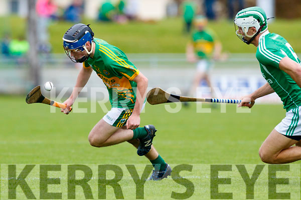 Paud Costello Ballyduff in action against Shane Conway Lixnaw in the Senior County Hurling Final in Austin Stack Park on Sunday