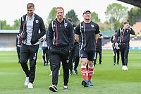 Grimsby Town players arrive ahead of the Sky Bet League 2 match between Barnet and Grimsby Town at The Hive, London, England on 29 April 2017. Photo by David Horn.