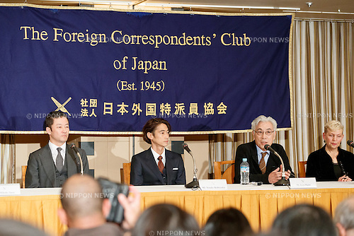 (L to R) Tadanobu Asano, Yosuke Kubozuka and Issey Ogata, cast of the film SILENCE (Chinmoku) speak during a press conference at the Foreign Correspondents' Club of Japan on January 12, 2017, Tokyo, Japan. The Japanese cast of the film attended the news conference after a special screening function at Kadokawa Cinema in Yurakucho. The film is directed by Martin Scorsese and hits Japanese theaters on January 21. (Photo by Rodrigo Reyes Marin/AFLO)