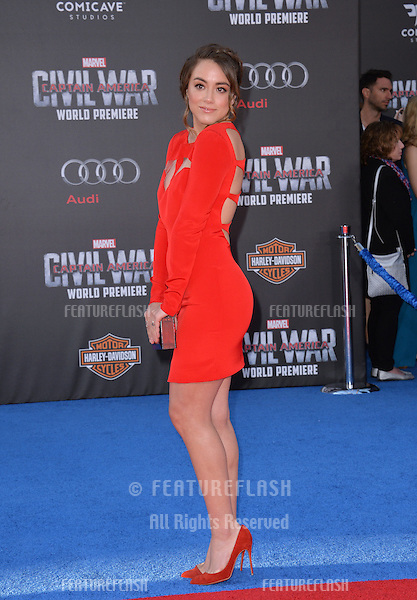 LOS ANGELES, CA. April 12, 2016: Actress Chloe Bennet at the world premiere of &quot;Captain America: Civil War&quot; at the Dolby Theatre, Hollywood.<br /> Picture: Paul Smith / Featureflash