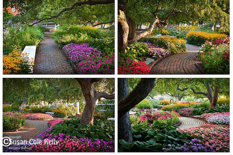 The gardens at Prescott Park in Portsmouth, Seacoast Region, NH, USA<br /> ***<br /> Four images to be displayed together. Buy each image separately or contact us to price all four.