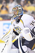 8th June 2017, Pittsburgh, PA, USA; Nashville Predators goalie Pekka Rinne (35) warms up before Game Five of the 2017 NHL Stanley Cup Final between the Nashville Predators and the Pittsburgh Penguins on June 8, 2017, at PPG Paints Arena