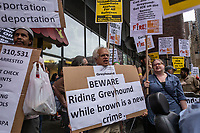 NEW YORK, USA - August 23 : Demostrators are seen holding signs in a protest to demand Greyhound collaboration with ICE on August 23, 2019 in New York, USA.<br /> Everyday across the U.S., ICE, DHS and Border Patrol agents board buses with Greyhound's permission and attempt to detain migrants. Demostrators at the Port Authority bus terminal demand Greyhound to end all collaboration with ICE and Border Patrol. <br /> (Photo by Luis Boza/VIEWpress)
