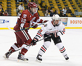 David Valek (Harvard - 22), Mike McLaughlin (NU - 18) - The Northeastern University Huskies defeated the Harvard University Crimson 4-1 (EN) on Monday, February 8, 2010, at the TD Garden in Boston, Massachusetts, in the 2010 Beanpot consolation game.