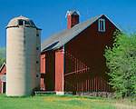 Sauk County, WI: Red barn and buildings with concrete silo