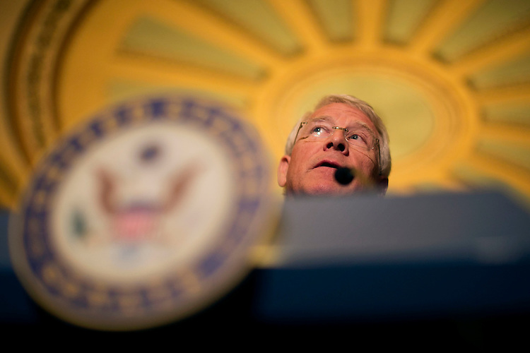 UNITED STATES - September 29: Sen. Roger Wicker, R-Miss., speaks during a news conference following the weekly Senate Democrats' policy lunch in the U.S. Capitol in Washington, on Tuesday, Sept. 29, 2015. (Photo By Al Drago/CQ Roll Call)