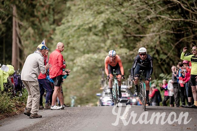 eventual 4th finisher Patrick Bevin (NZL/CCC) overtakes Jos Van Emden (NED/Jumbo-Visma)<br /> Elite Men Individual Time Trial<br /> from Northhallerton to Harrogate (54km)<br /> <br /> 2019 Road World Championships Yorkshire (GBR)<br /> <br /> ©kramon