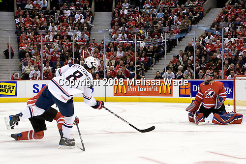 Colten Teubert (Canada - 2), Kevin Shattenkirk (USA - 8), Dustin Tokarski (Canada - 30) - Canada defeated the US 7-4 on Wednesday, December 31, 2008, at Scotiabank Place in Kanata (Ottawa), Ontario during the 2009 World Junior Championship.