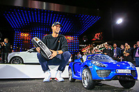 Thomas Pieters (BEL) with his winners key at the Porsche Urban Golf Challenge in the Reeperbahn the famous Red light district in Hamburg ahead of the Porsche European Open at Green Eagles Golf Club, Luhdorf, Winsen, Germany. 03/09/2019.<br /> Picture Fran Caffrey / Golffile.ie<br /> <br /> All photo usage must carry mandatory copyright credit (© Golffile | Fran Caffrey)