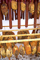 Mangalcsa meat products, Salamis, hams. Hungary Stock Photos