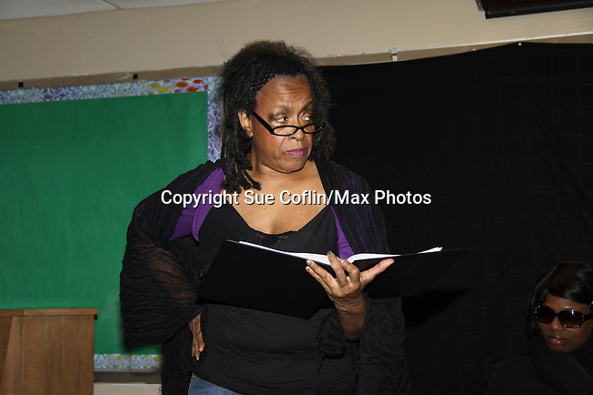 "Niambi Steels and Ana Andre are a part of Evern Gillard-Randolph, playwright and founder of Grandparents Around the World, new play ""To Do List"" in a first play reading on December 7, 2013 at the Salvation Army Harlem Corps, New York, New York.  (Photo by Sue Coflin/Max Photos)"