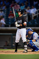 Birmingham Barons right fielder Alex Call (8) at bat in front of catcher Ian Rice (5) during a game against the Tennessee Smokies on August 16, 2018 at Regions FIeld in Birmingham, Alabama.  Tennessee defeated Birmingham 11-1.  (Mike Janes/Four Seam Images)