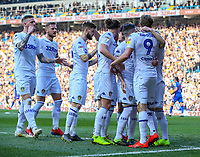 Leeds United's Patrick Bamford celebrates scoring the opening goal with teammates<br /> <br /> Photographer Alex Dodd/CameraSport<br /> <br /> The EFL Sky Bet Championship - Leeds United v Bolton Wanderers - Saturday 23rd February 2019 - Elland Road - Leeds<br /> <br /> World Copyright © 2019 CameraSport. All rights reserved. 43 Linden Ave. Countesthorpe. Leicester. England. LE8 5PG - Tel: +44 (0) 116 277 4147 - admin@camerasport.com - www.camerasport.com