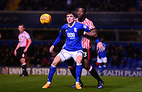 Sam Gallagher of Birmingham holds off Lamine Kone of Sunderland during the Sky Bet Championship match between Birmingham City and Sunderland at St Andrews, Birmingham, England on 30 January 2018. Photo by Bradley Collyer / PRiME Media Images.