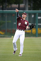 Reid Humphreys (12) of the Mississippi State Bulldogs throws during a game against the Southern California Trojans at Dedeaux Field on March 5, 2016 in Los Angeles, California. Mississippi State defeated Southern California , 8-7. (Larry Goren/Four Seam Images)