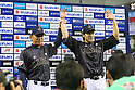 (L to R) <br />  Hiroki Kokubo, <br /> Yuki Yanagita (JPN), <br /> NOVEMBER 14, 2014 - Baseball : <br /> 2014 All Star Series Game 2 <br /> between Japan and MLB All Stars <br /> at Tokyo Dome in Tokyo, Japan. <br /> (Photo by YUTAKA/AFLO SPORT)[1040]