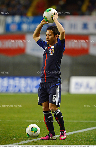 Yuto Nagatomo (JPN),.FEBRUARY 6, 2013 - Football / Soccer :.Kirin Challenge Cup 2013 match between Japan 3-0 Latvia at Home's Stadium Kobe in Hyogo, Japan. (Photo by Takamoto Tokuhara/AFLO)