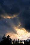 Sunbeams at sunrise through hole in dark storm clouds over trees, Grand Teton National Park, WYOMING