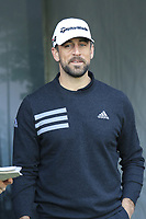 NFL Green Bay Packers quarterback Aaron Rodgers on the 1st tee at Spyglass Hill during Thursday's Round 1 of the 2018 AT&amp;T Pebble Beach Pro-Am, held over 3 courses Pebble Beach, Spyglass Hill and Monterey, California, USA. 8th February 2018.<br /> Picture: Eoin Clarke | Golffile<br /> <br /> <br /> All photos usage must carry mandatory copyright credit (&copy; Golffile | Eoin Clarke)
