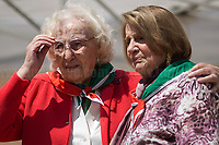 (From L to R) Iole Mancini & Tina Costa (Antifascist Partizans. Members of the Partigiani: the Italian Resistance during WWII).<br /> <br /> Rome, 25/04/2018. Today, to mark the 73rd Anniversary of the Italian Liberation from nazi-fascism ('Liberazione'), ANED Roma & ANPI Roma (National Association of Italian Partizans) held a march ('Corteo') from Garbatella to Piazzale Ostiense where a rally took place attended by Partizans, Veterans and politicians – including the Mayor of Rome and the President of Lazio's Region. From the organisers Facebook page:<<For the 25th of April, the 73rd Anniversary of the Liberation of Italy from nazi-fascism, while facing new threats to the world peace, it is necessary to remember that the Fight for Liberation triggered the greatest, positive, 'break' of the whole modern age of the Italian history. The Fight for the Liberation was supported by a great solidarity of the people. The memory of those who in the partizan struggle, in the camps of imprisonment, internment or extermination, opposed - even until the sacrifice of life - the dictatorship, the greed of territorial conquests, crazy ideologies of race supremacy, constitutes concrete warning against any attempt to undermine the foundations of the free institutions born of the Resistance. Memory is not an instrument of hatred or revenge, but of unity in a spirit of harmony without discriminations...<br /> (For the full caption please read the PDF attached at the the beginning of this story).<br /> <br /> For more info please click here: https://bit.ly/2vOIfNf & https://bit.ly/2r4iJy3 & http://www.anpi.it<br /> <br /> For the Wikipedia's page of the 'Liberazione' please click here: https://en.wikipedia.org/wiki/Liberation_Day_(Italy)<br /> <br /> For a Video of the event by Radio Radicale please click here: https://www.radioradicale.it/scheda/539534/manifestazione-promossa-dallanpi-in-occasione-della-73a-festa-della-liberazione