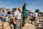 Priddy Sheep Fair Somerset Uk 2009. Auctioneer making a sale.