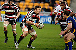 Kristian Ormsby eyes up Nick Evans as he tries to break the Otago defence during the Air NZ Cup game between Counties Manukau & Otago played at Mt Smart Stadium,Auckland on the 29th of July 2006. Otago won 23 - 19.