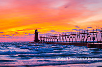 64795-02620 South Haven Lighthouse at sunset South Haven,  MI