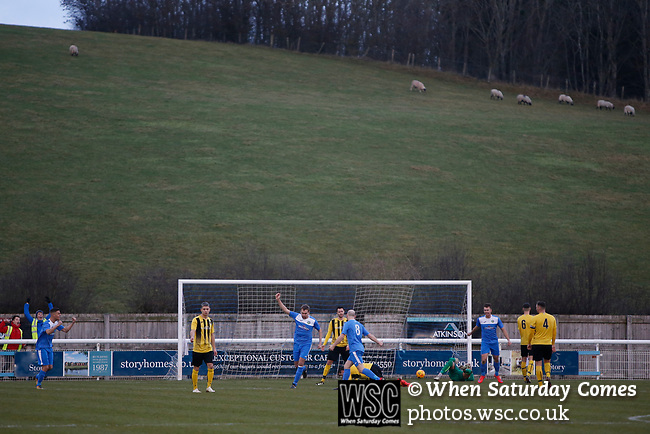 Goal celebration by Penrith's Will Paul, 1-0. Penrith AFC V Hebburn Town, Northern League Division One, 22nd December 2018. Penrith are the only Cumbrian team in the Northern League. All the other teams are based across the Pennines in the north east.<br /> Penrith, winless at kick off, lost a thriller 3-4, in front of 100 people. They won five games all season, but were reprieved from relegation following Blyth's resignation from the league.