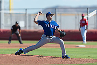 Texas Rangers pitcher Cole Winn (95) delivers a pitch during an Instructional League game against the Cincinnati Reds at the Cincinnati Reds Training Complex on October 10, 2018 in Goodyear, Arizona. (Zachary Lucy/Four Seam Images)