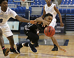 Cheyenne's Jermaine McCormick fights for a loose ball with Desert Pines' Hasani Jameel during the NIAA 3A state basketball championship game in Reno, Nev., on Saturday, Feb. 24, 2018. Desert Pines won 48-44 in overtime. Cathleen Allison/Las Vegas Review-Journal