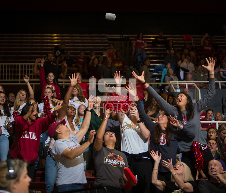 STANFORD, CA - September 9, 2018: Fans at Maples Pavilion. The Stanford Cardinal defeated #1 ranked Minnesota 3-1 in the Big Ten / PAC-12 Challenge.