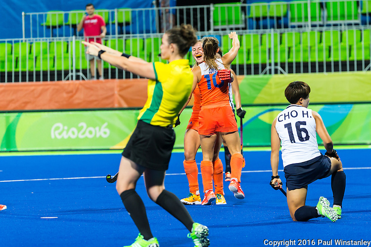 Kelly Jonker #10 of Netherlands celebrates a goal during Netherlands vs Korea in a Pool A game at the Rio 2016 Olympics at the Olympic Hockey Centre in Rio de Janeiro, Brazil.